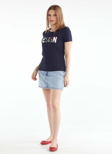 Sementa Sıfır Yaka Baskılı Tshirt - Lacivert Lacivert